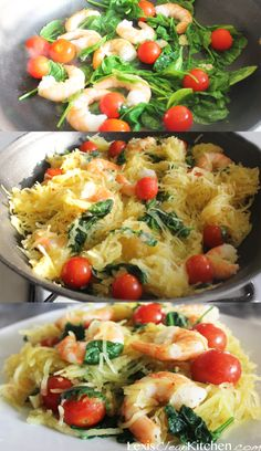 Spaghetti Squash Primavera- added grape tomatoes, chicken instead of shrimp, spinach olive oil and garlic.  Was quick and delicious!