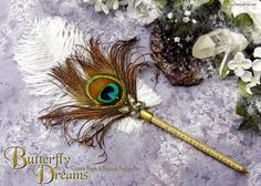 BUTTERFLY DREAMS Golden Peacock Ballpoint by EnchantedQuills, $23.00    I'd probably skip the butterfly, but this is pretty...