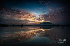 Sunrise reflection. Fine art photo print. Art gift