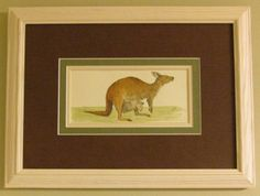 Framed Kangaroo Mother and Baby - Original watercolor painting by Juan Bosco of sanmartin-artscrafts.com    (Visit Ebay, Etsy and Fineartamerica.com to view available prints and originals)