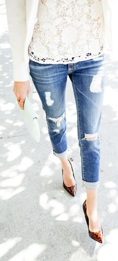 My Style: 31 Bits With Denim & Lace  #Adriano Goldschmied Jeans #Madewell Lace top #Sam Edelman Shoes