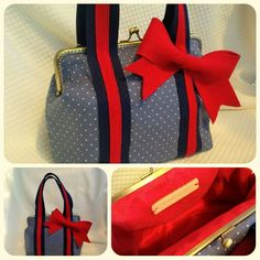 Spotted jeans bag with bow