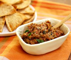 Recipe for roasted eggplant spread with garlic, pepper and onions from The Perfect Pantry (sounds yummy!)