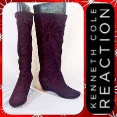 """KENNETH COLE Tall Burgundy Suede Wedge Boots 7.5M Retail: $180. Gorgeous Burgundy Suede """"Forever Real"""" Boots from Kenneth Cole Reaction with rounded toe and 2"""" wedge heel. Ruched detail along the shaft. Tall boots to right below the knee. Size 7.5 M with minimal wear on the bottoms. No longer has its box.   **Bundle with Another Item to Get 15% Off Automatically!** Kenneth Cole Reaction Shoes Heeled Boots"""