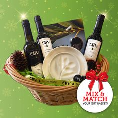 Looking for a unique gift for the foodie or cook on your Christmas list? Visit your local OLiV Tasting Room to mix & match your own gift basket! This one includes our Premium EVOO, True Dark & White Balsamic Vinegar, a Gourmet Dipping Plate, Tapi Spouts & OLiV's Cookbook! #olivtastingroom #evoo #balsamic #food #gift #giftbasket #foodie #dippingplate #cook #cookbook #oliveoil #healthy #natural #idea #christmas