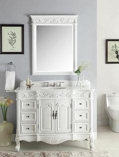 """48"""" Beckham Bathroom Sink Vanity & Mirror Set, antique white  SW-3882W-AW-48MIR - Chans Furniture - 1"""
