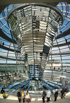 The glittery cone inside the Reichstag dome - Berlin, Germany