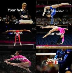 Your hero might wear a cape, but mine wears a leotard. – Ima Ludwig Your hero might wear a cape, but mine wears a leotard. Your hero might wear a cape, but mine wears a leotard. All About Gymnastics, Gymnastics Moves, Gymnastics Flexibility, Amazing Gymnastics, Olympic Gymnastics, Gymnastics Stuff, Olympic Games, Gymnastics Room, Gymnastics Problems