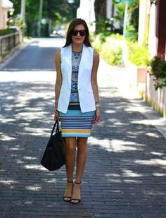 Lucky Reader Look of the Day: White Vest with a print dress. Office chic