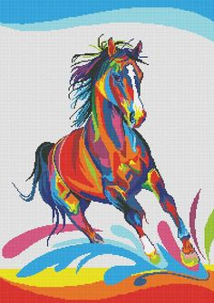 Rainbow Horse Cross Stitch - this would make an awesome perler bead creation! You could mount this on a white canvas and use as art! Cross Stitch Horse, Cross Stitch Animals, Cross Stitch Charts, Cross Stitch Patterns, Cross Stitching, Cross Stitch Embroidery, Pixel Art, Horse Quilt, Colorful Animals