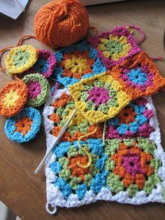 crochet granny squares...great color