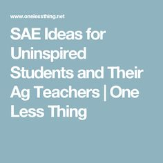 SAE Ideas for Uninspired Students and Their Ag Teachers | One Less Thing