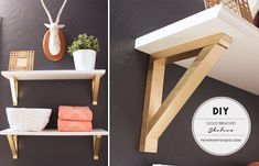DIY Shelves with Gold Brackets