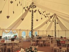 Hanging hearts and sail linings to perfectly finish this marquee. Brilliant DIY…