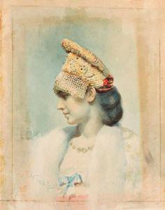Léon Bakst : Portrait of a Girl Wearing a Kokoshnik (http://my-museum-of-art.blogspot.com/2012/04/leon-bakst-portrait-of-girl-wearing.html)
