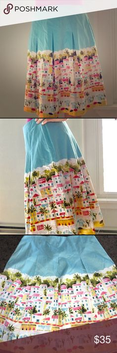 """Talbots coastal village skirt Talbots size 8p. Adorable coastal village picture. Perfect condition. Is lined. Laying flat measurements: 15"""" waist, 22.5"""" length. Talbots Skirts Circle & Skater"""