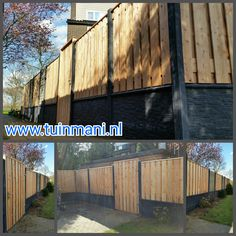 Een solide schutting - erfafscheiding - afscheiding , met als basis de beton palen en onderplaten , tuinschermen van geimpregneerd hout, gaaselementen en piramide afdeklatten. Dit alles gecombineerd rotsmotief onderplaten. Een mooie onderbreking van het hout. En de solide tuinpoort maakt het volledig af!  Geplaatst door en verkrijgbaar bij #tuinmani @Tuinmani www.tuinmani.nl