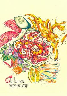 Shrimps & vegetables picture, graphic, image, sketch, draft