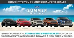 I just entered for a chance to win a new vehicle during the Ford Event Sweepstakes!