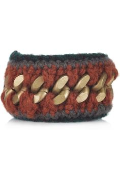 love this- and the closure is a ribbon.  MARNI  Knitted wool and brass chain bracelet