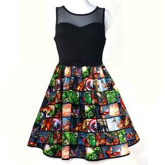 Women Dress Super Hero Dress Captain America by Unpluggedesign Crop Dress, Sheer Dress, Kohls Dresses, Cute Dresses, Marvel Fashion, Marvel Clothes, Avengers Clothes, Valentines Day Dresses, Gowns For Girls