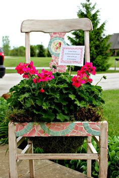 From broken chair to plant holder DIY.  You can pick up fun furniture to create this great planter