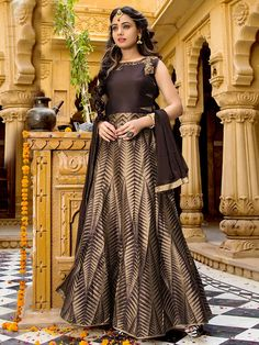 This Anarkali Suit is Fabricated With Cutdana, zardosi, zari, resham and Contrast Golden Border. This Coffee color Kameez is Made From Cotton Silk Fabric. Comes with Lycra Fabric Coffee Bottom and Coffee Colored Dupatta. Anarkali Dress, Anarkali Suits, Cotton Silk Fabric, Designer Anarkali, Coffee Colour, Party Wear, Designer Dresses, Ready To Wear, Zardosi Work