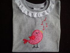 Sweet Tweet longsleeve VALENTINE shirt appliqued by ColorfulThreds, $20.00
