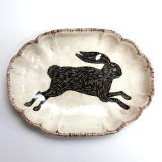 Don Carney transfer ware  I like black rabbits.