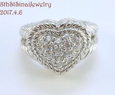 RETIRED J5050 Judith Ripka Sterling Diamonique Pave Signature Heart Ring Sz 5.25 #JudithRipka #Cocktail