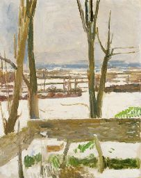 vanessa bell - 'snow at charleston - view from the artist's studio' - 1944 - oil on canvas - christie's