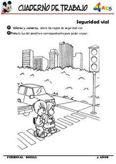 Cuaderno De Trabajo Iii 4 Años Personal Social Educacion Vial Para Niños Reglas De Seguridad Para Niños Señales De Transito