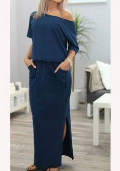 Navy Blue Plain Pockets Boat Neck Fashion Polyester Maxi Dress