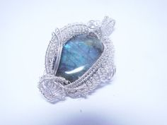 Wire Wrapped and Woven Labradorite Pendant by WireWrappedWhimsies, $78.00