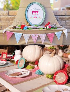 Charming & Girlie Woodland Owl Birthday Party // Hostess with the Mostess® Owl 1st Birthdays, Owl Birthday Parties, Fall Birthday, Owl Parties, Birthday Ideas, White Pumpkin Centerpieces, Aaliyah Birthday, Woodland Party, Woodland Theme