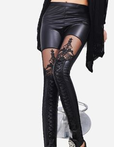 a89ea79c2 Women Leggings Sexy PU Leather Stitching Embroidery Hollow Lace Legging  Women Legging