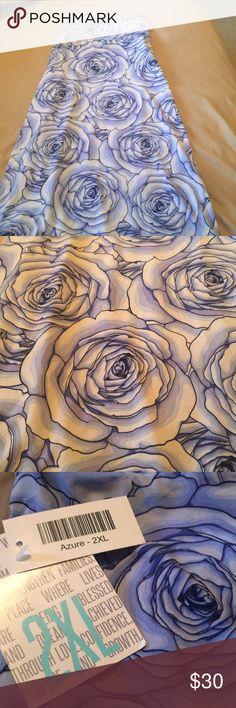 Lularoe 2x azure skirt Brand new never worn. Beautiful blue rose pattern LuLaRoe Skirts Midi