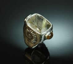 Rutilated quartz in sterling silver ring with citrines top and bottom, and ammonite designs on sides with black diamonds in center Black Diamonds, Custom Jewelry Design, Ammonite, Rutilated Quartz, Sterling Silver Jewelry, Dan, Jewelery, Rings For Men, My Style