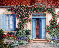 Barbara Rosbe Felisky, (Chicago - EEUU)  cuadros-de-casas-con-jardines
