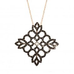 Lucky Eyes black crystal lace necklace ~ super chic