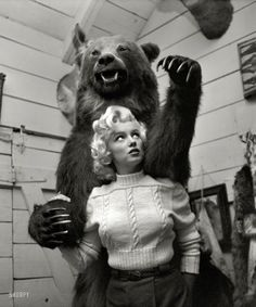 Marilyn Monroe and friend in Alberta, Canada, in 1953 for the filming of River of No Return. Photo by John Vachon for Look magazine.   From Shorpy