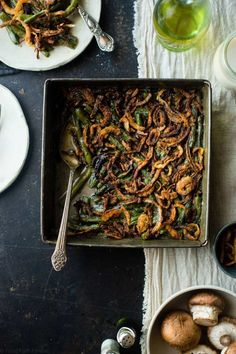 You'll never believe this rich, creamy dairy free vegan green bean casserole is gluten free, paleo friendly and compliant! Perfect for a healthy Thanksgiving! Paleo Thanksgiving, Thanksgiving Side Dishes, Creamy Green Beans, Cooking With Coconut Milk, Vegan Green Bean Casserole, Vegan Side Dishes, Salad With Sweet Potato, Potato Salad, Happy Kitchen