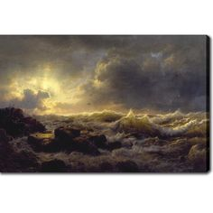 Andreas Achenbach 'Clearing Up, Coast of Sicily' Oil on Canvas Art