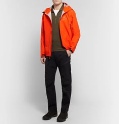 Arc'teryx Beta Lt Gore-tex Hooded Jacket In Bright Orange Hooded Jacket, Bomber Jacket, Gore Tex, Orange Color, Hoods, Trousers, Mens Fashion, Jackets, Shirts
