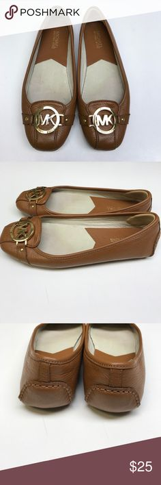 Micheal Kors Flats Micheal Kors Flats - saddle brown leather with gold Hardware - size 7.5 Michael Kors Shoes