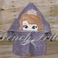 Amulet Princess Hooded Towel Applique Embroidery Design from French Frills