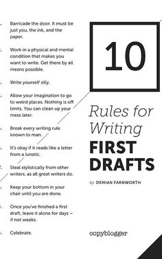 First drafts of books are all about getting the words down. You may have no idea what you are doing and you may think everything you have written is silly, crazy and just plain awful. Push through it and get that first draft written any way you can. Book Writing Tips, Writing Process, Writing Quotes, Writing Resources, Writing Help, Writing Skills, Essay Writing, Writer Tips, Writing Practice