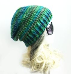 Slouchy Beanies for Girls | Emerald Slouchy Beanie Ribbed rim Beanie Hat Crochet Slouch Hat Girls ...