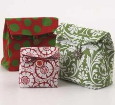These easy-to-sew bags using fat quarters are great for using as a lunch sack or as a reusable gift bags.