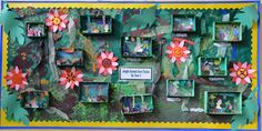A jungle display, complete with rainforest dioramas. Classroom Wall Displays, Class Displays, School Displays, Classroom Walls, School Classroom, Rainforest Project, Rainforest Theme, Projects For Kids, Art Projects